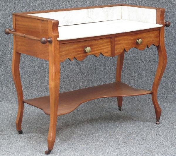 """18: VICTORIAN MAHOGANY WASHSTAND with marble top 33""""h,4"""