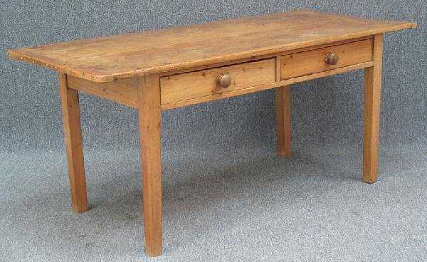 21: FRENCH COUNTRY TWO DRAWER FARM TABLE, 19th century