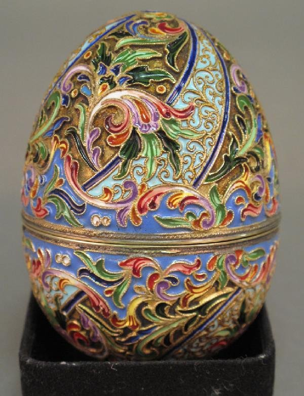 75A: LATE 19TH CENTURY RUSSIAN SILVER & ENAMELED EGG Pa