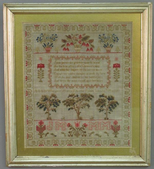 "1: EARLY 19TH CENTURY SAMPLER 12.5""x14.5:"