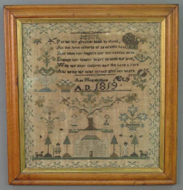 2: EARLY 19TH CENTURY SAMPLER dated 1819, Ann Meginboth