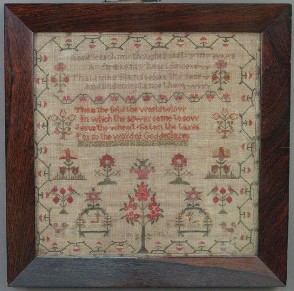 "3: EARLY 19TH CENTURY SAMPLER 13""x13"""