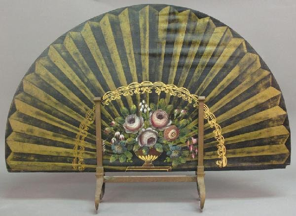 6: 19TH CENTURY ENGLISH HAND PAINTED FIRESCREEN, 33""