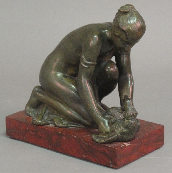 9: FRENCH BRONZE STATUE on marble stand, signed, 7""