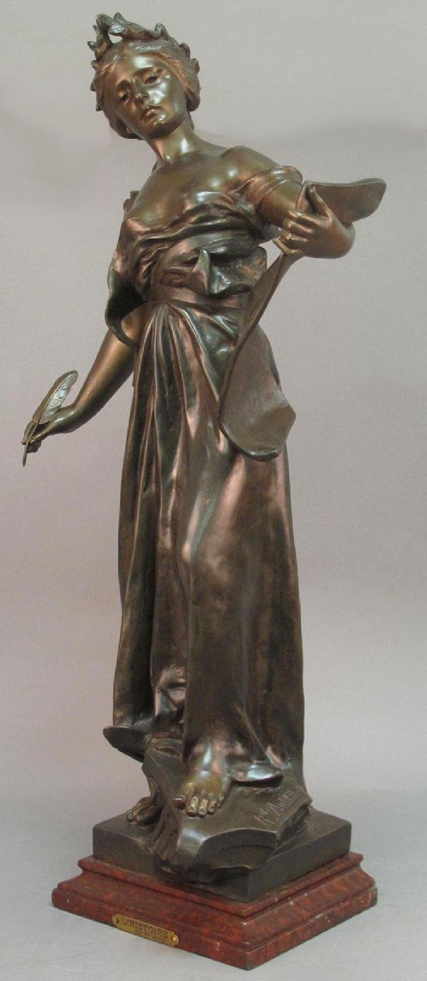 17: FRENCH SPELTER AND ROUGE MARBLE STATUE signed R de