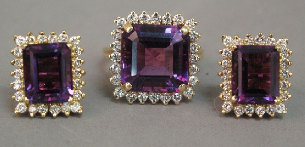 18: 14KT AMETHYST RING AND EARRINGS