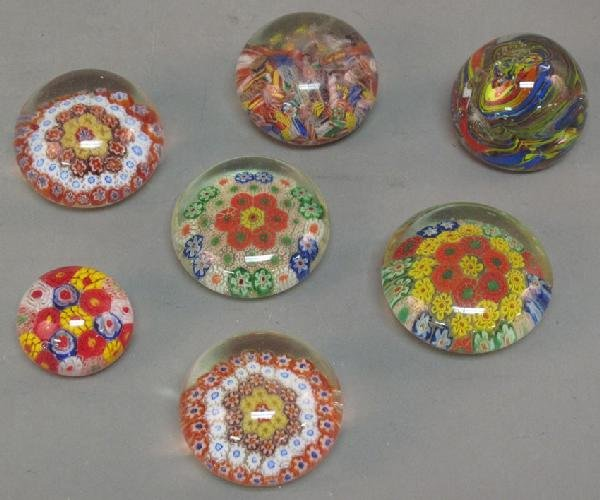 4A: LOT OF (7) MILLEFIORI STYLE ART GLASS PAPERWEIGHTS