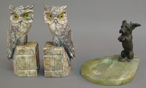 7: PAIR OF CARVED ALABASTER OWL BOOKENDS together with