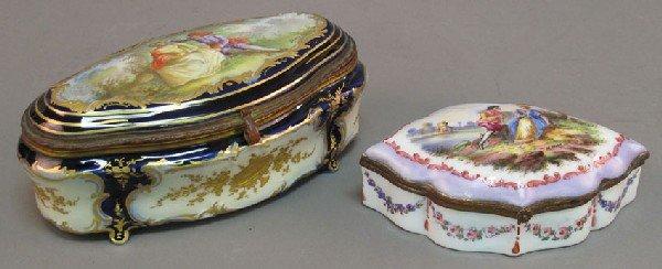 13: LOT OF (2) PAINTED PORCELAIN DRESSER BOXES- Sevres