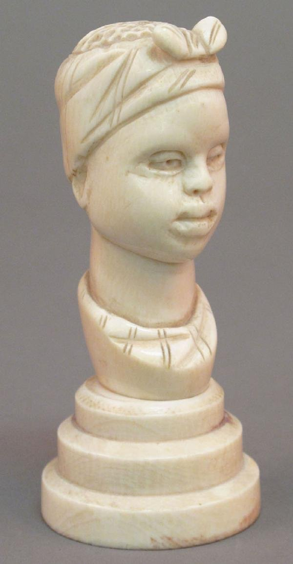 15: AFRICAN AMERICAN IVORY CARVING circa 19th century h