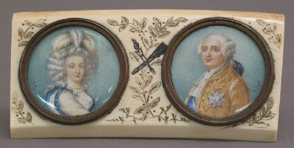 18: OIL PAINTED ON IVORY PORTRAITS 19th century artist