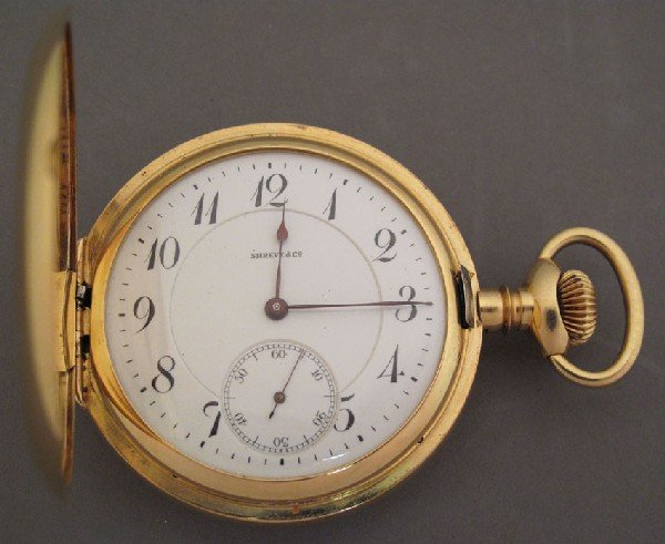 71: ELGIN 18KT POCKET WATCH 21 jewels  retailed by Shre