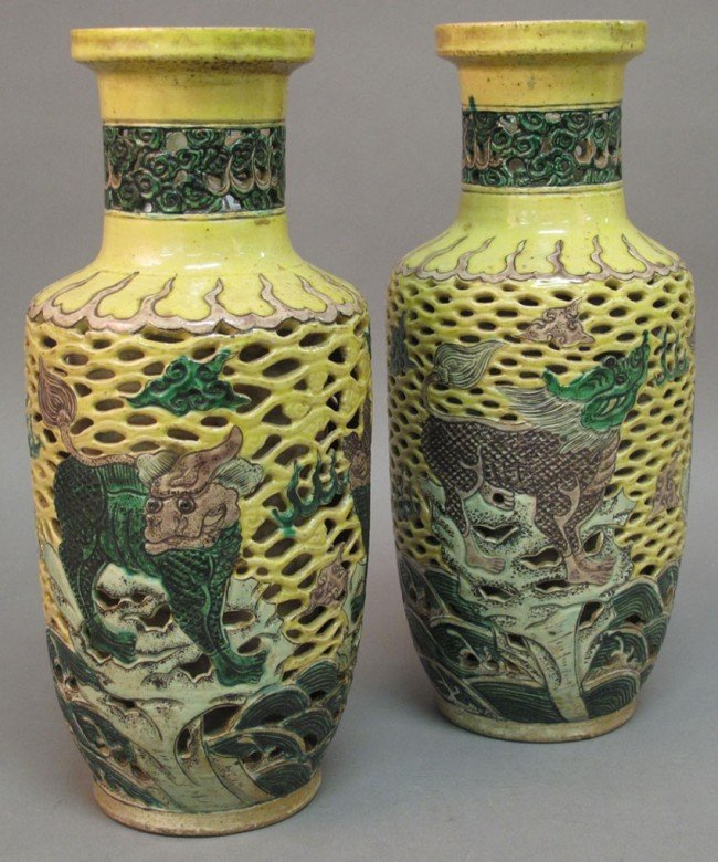 5:  CHING DYNASTY, KANG SHI PERIOD  RETICULATED VASES c