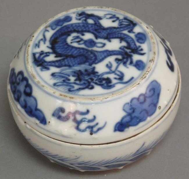 12: CHING DYNASTY PORCELAIN COVERED BOX four character