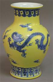 13: CHINESE YELLOW IMPERIAL VASE with five claw dragon