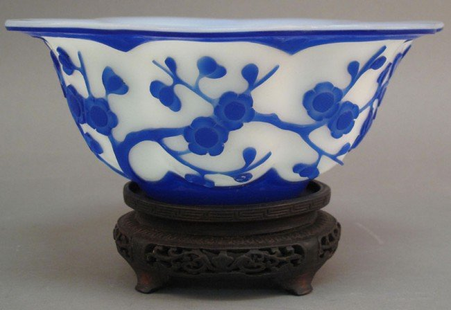 14: CHINESE PEKING GLASS BOWL with floral design unsign
