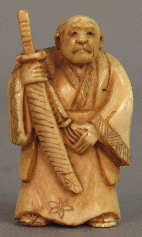 """157: IVORY NETSUKE OF SAMURAI  height: 2 1/4"""""""