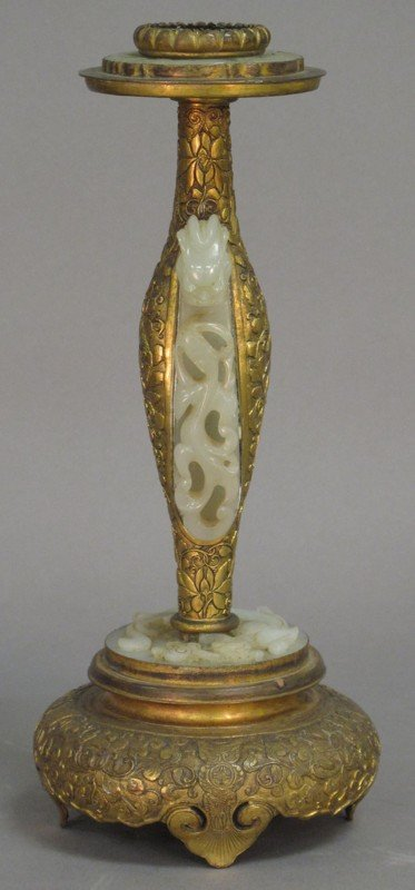 331: CHINESE CARVED STAND STICK with white jade height: