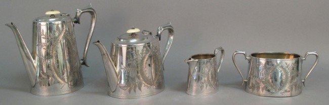 502: VICTORIAN SILVER PLATED TEA SERVICE