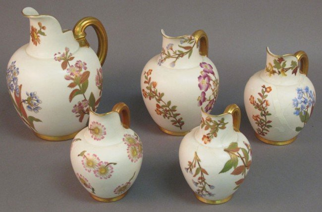 504: LOT OF (5) ROYAL WORCHESTER PITCHERS restorations