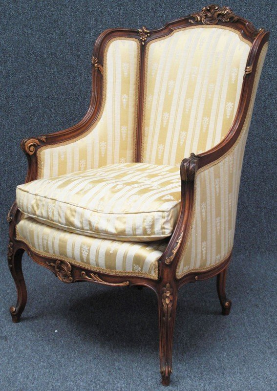 510: FRENCH PROVINCIAL CARVED WALNUT PARLOR CHAIR heigh