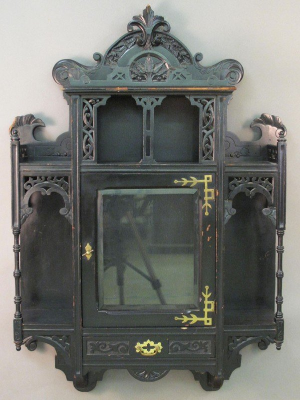 516: AESTHETIC MOVEMENT VICTORIAN HANGING CABINET heigh