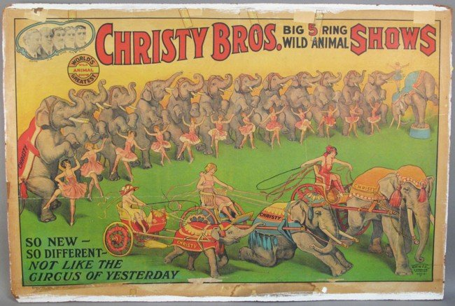 """517: VINTAGE """"CHRISTY BROTHERS"""" CIRCUS POSTER sight: 28"""