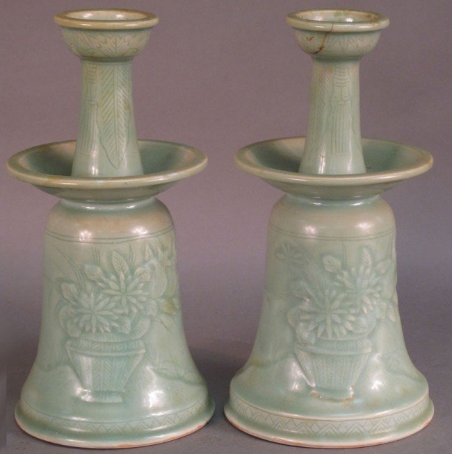 3: PAIR OF CHINESE CELADON CANDLESTICKS note: minor res