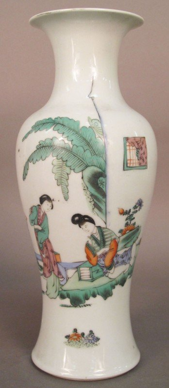 6: (2) CHINESE PAINTED ON PORCELAIN VASES heights: 9 1/