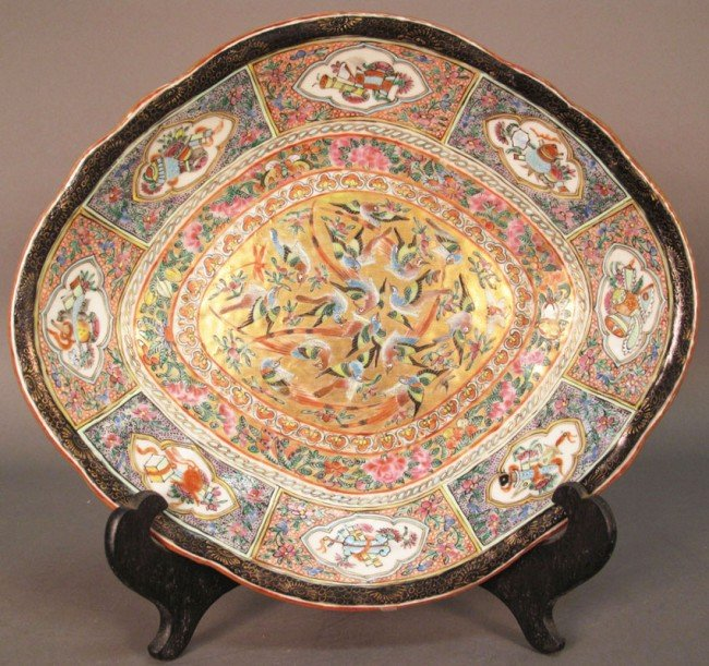 9: CHING DYNASTY PAINTED LOW BOWL circa 19th century wi
