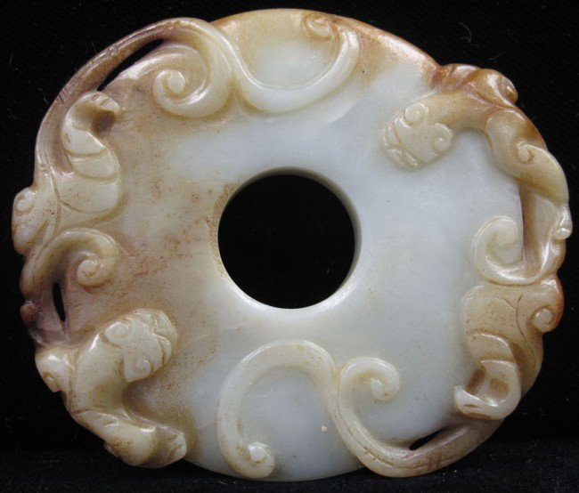 """10: CHINESE CARVED JADE BI overall: 3 1/4""""x 2 3/4"""""""