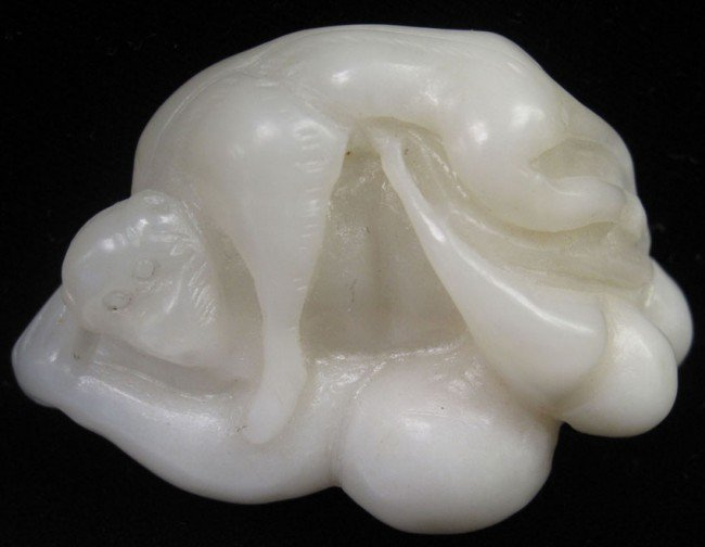 """17: CHINESE CARVED WHITE JADE length: 2 1/2"""""""