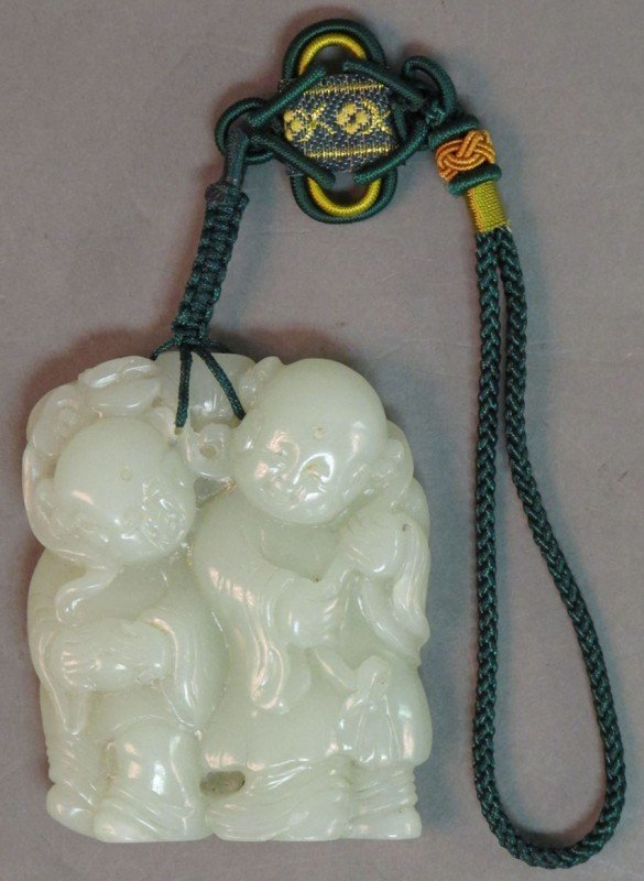18: CHINESE CARVED JADE FIGURE Qing Dynasty Carved with