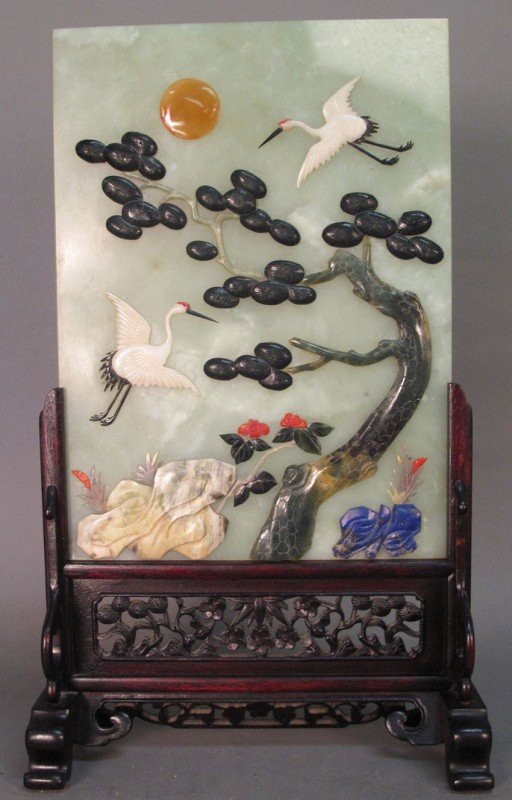 19: CHINESE CARVED JADE TABLE TOP SCREEN with applied d
