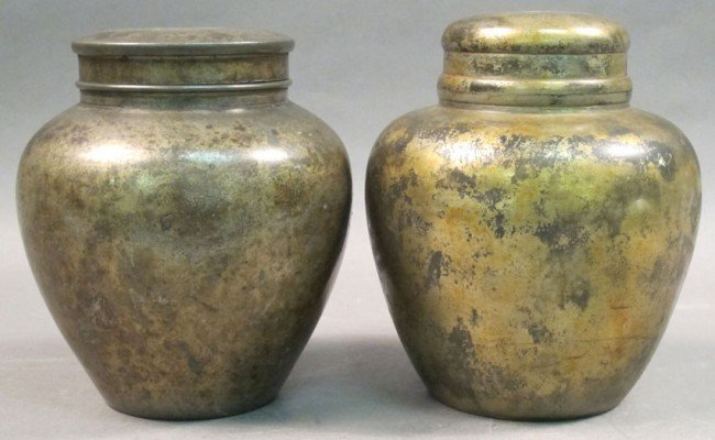"""22: LOT OF (2) CHINESE PEWTER TEA CADDIES height: 7"""""""