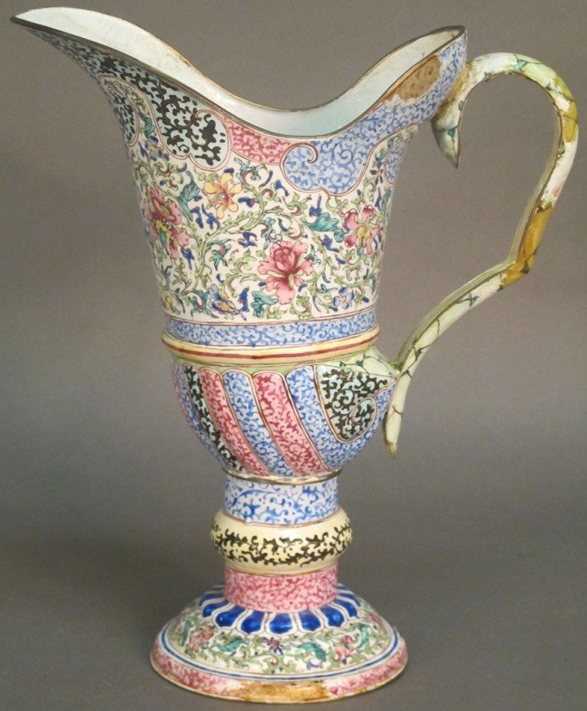 29: CHING DYNASTY 18TH CENTURY ENAMELED PITCHER note: e