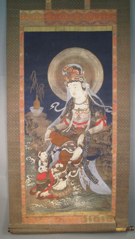 "79: 17TH/18TH CENTURY QUAN YIN SCROLL size: 38 1/2""x84"""