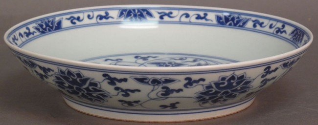 83: CHING DYNASTY BLUE AND WHITE CHINESE LOW BOWL