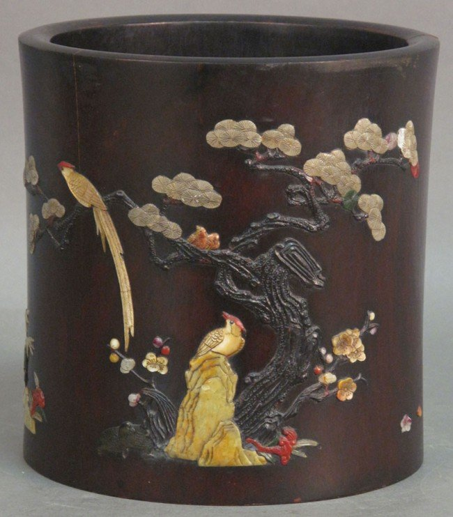 87: CHINESE CARVED WOOD BRUSH POT with stone decoration