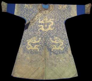 120: RARE CHINESE CEREMONIAL ROBE with gold w