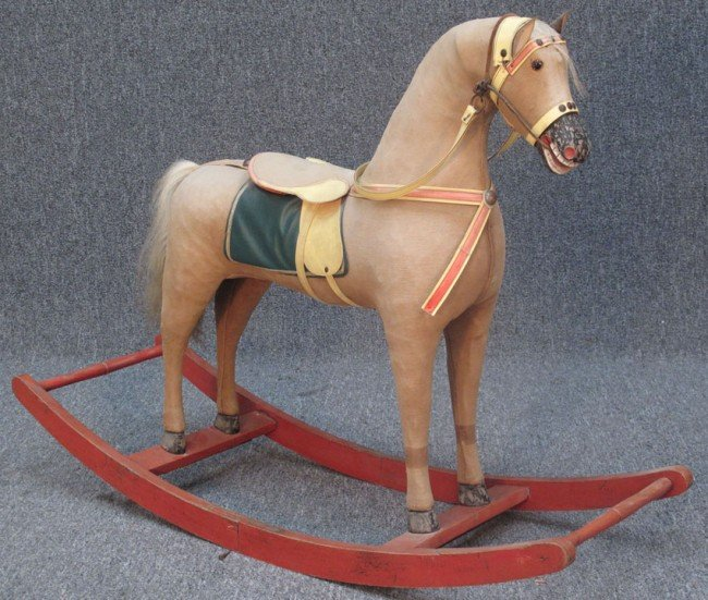 1018: EARLY 20TH CENTURY ROCKING  HORSE  L:41""