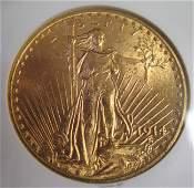 1100: 1914 $20 GOLD COIN