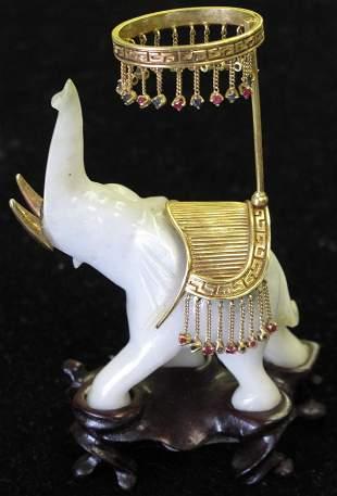 CHINESE CARVED JADE ELEPHANT