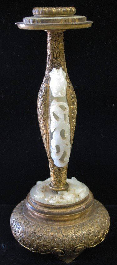 10: CHINESE WHITE JADE AND GILT METAL CANDLESTICK