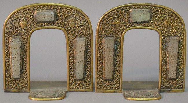 14: PAIR OF 19TH CENTURY BRONZE AND WHITE JADE BOOKENDS