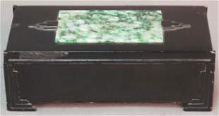 """ART DECO STERLING AND JADE HUMIDOR length: 7 1/8"""""""