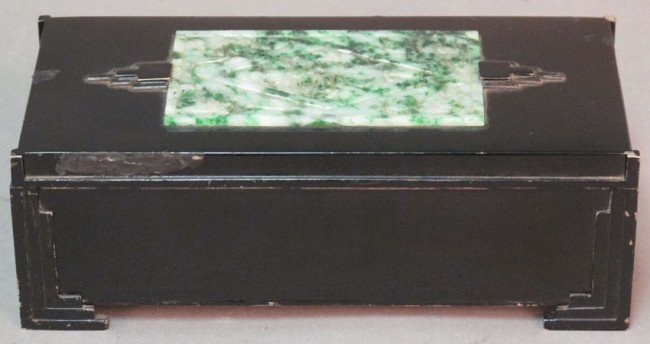 """18: ART DECO STERLING AND JADE HUMIDOR length: 7 1/8"""""""