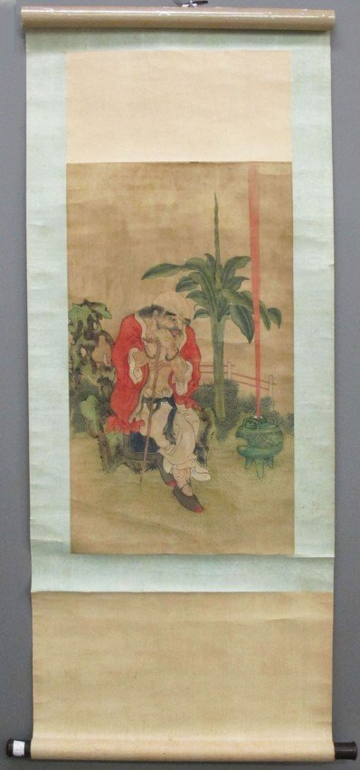 64: CHINESE PAINTING OF SEATED LOHAN circa 18th/19th ce