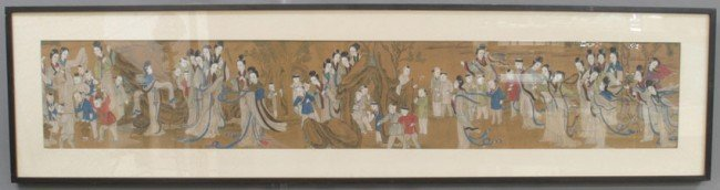 66: PAIR OF CHINESE 19TH CENTURY PAINTINGS sight: 52 1/