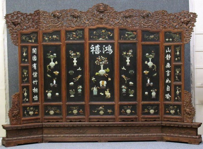 69: LARGE SEVEN PANEL CHINESE SCREEN with carved stone